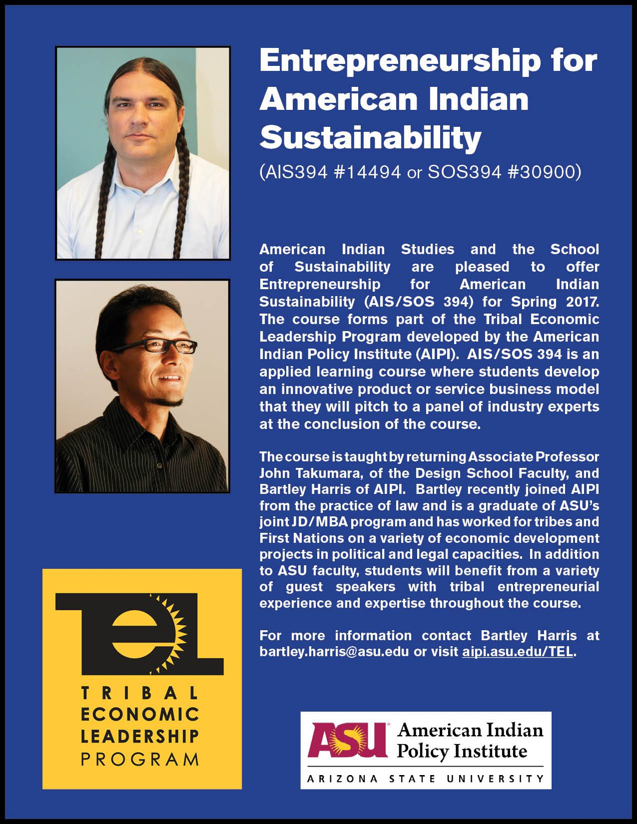 Entrepreneurship for American Indian Sustainability